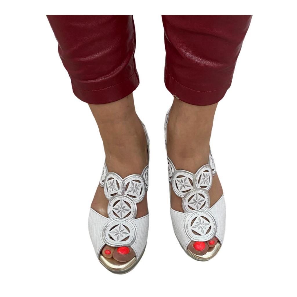 Sandale Pitillos argintii cu platforma