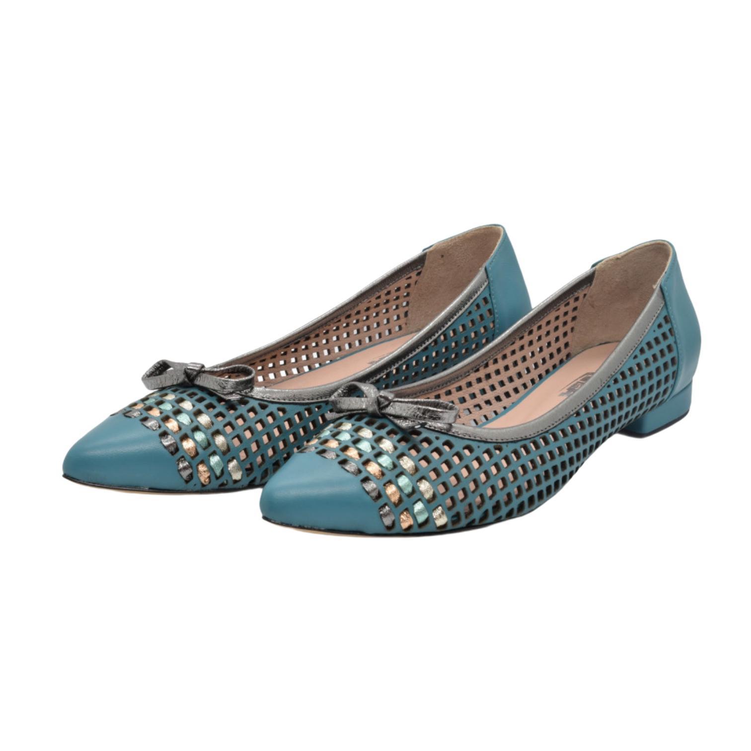 Balerini turquoise cu fundita si detaliu colorat