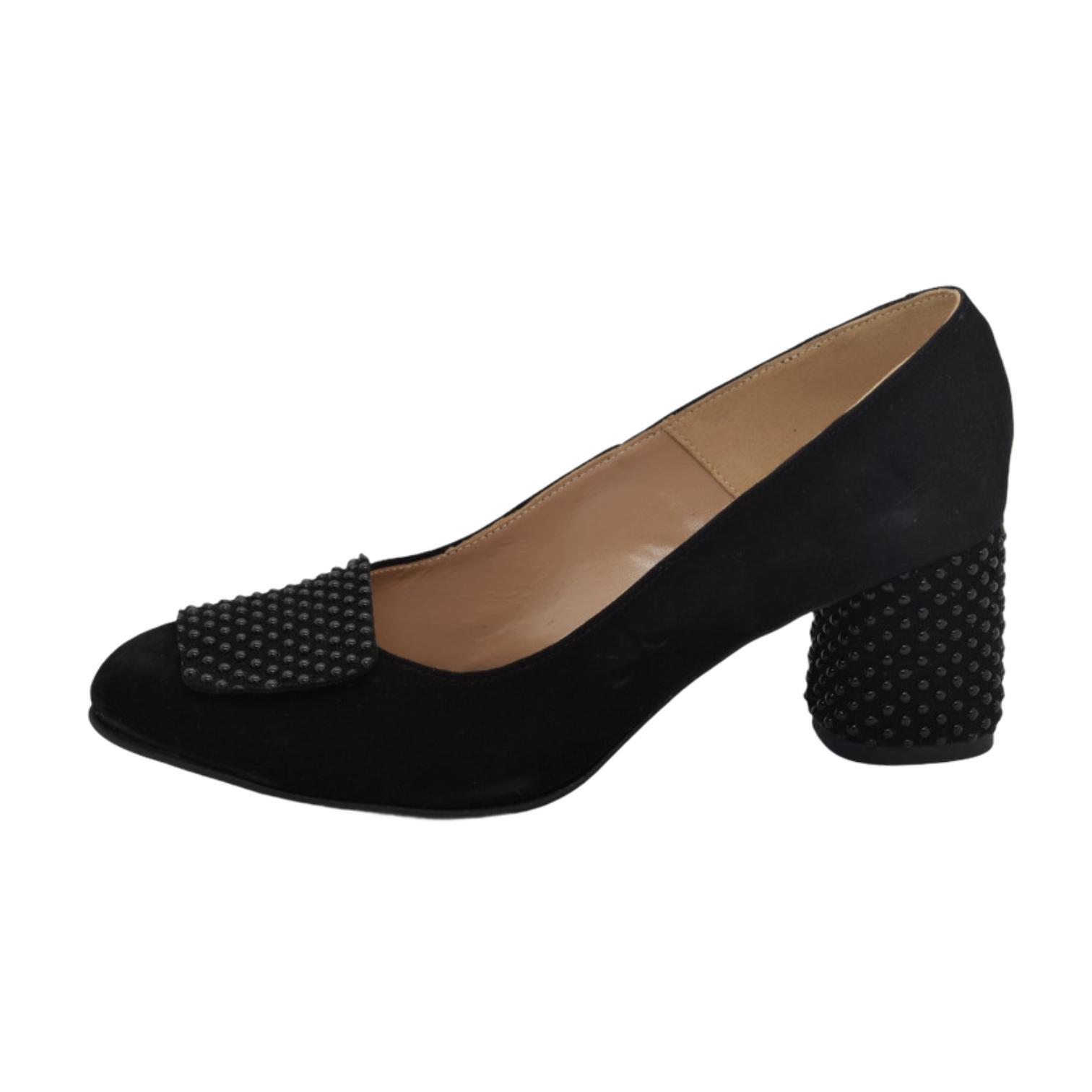 Pantofi negri cu accesoriu si toc cu aplicatii sferice