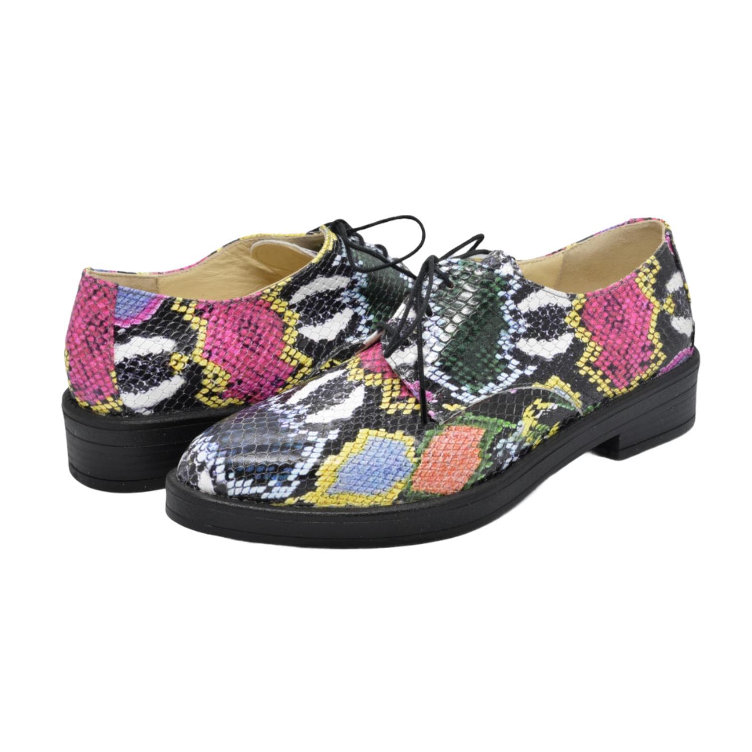 Pantofi multicolori cu model boa