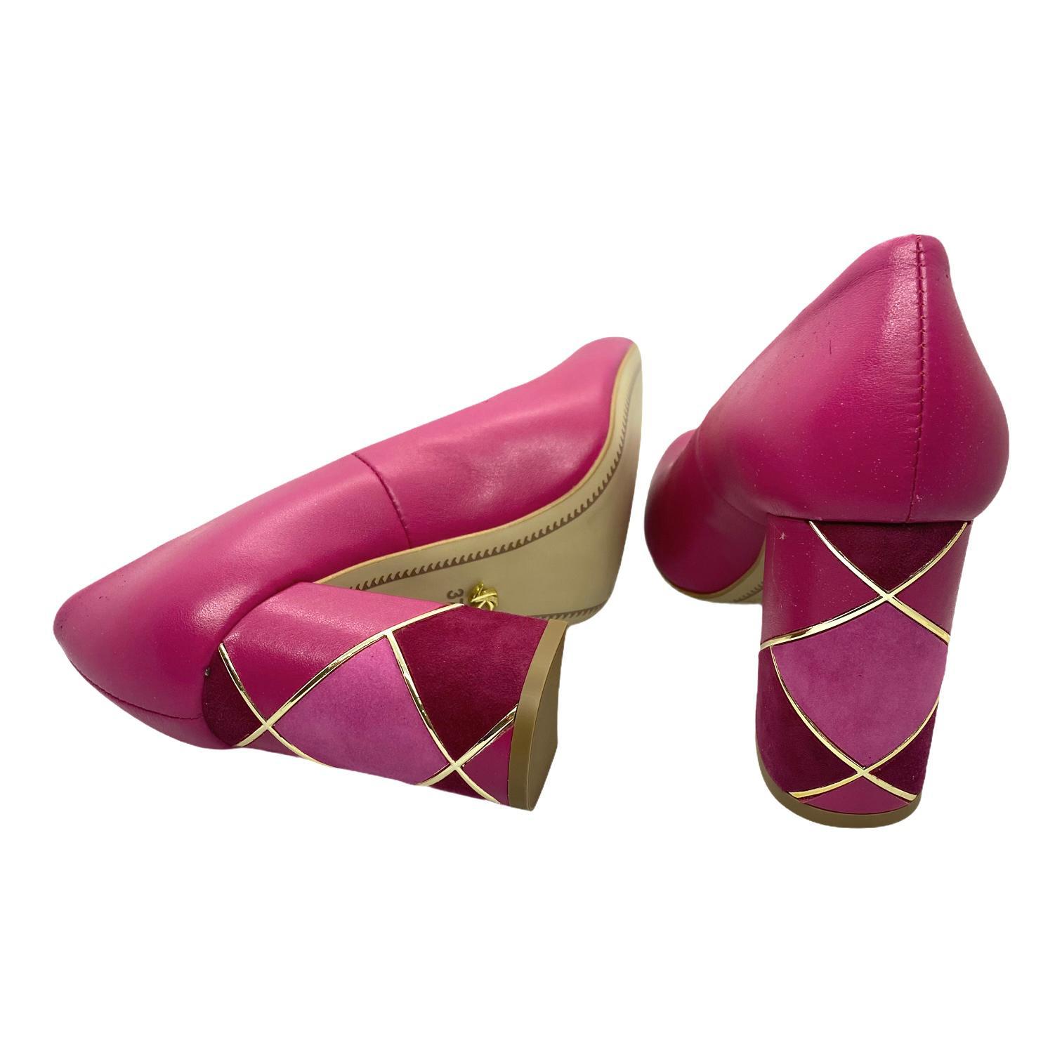 Pantofi Kordel fuxia cu toc cu model
