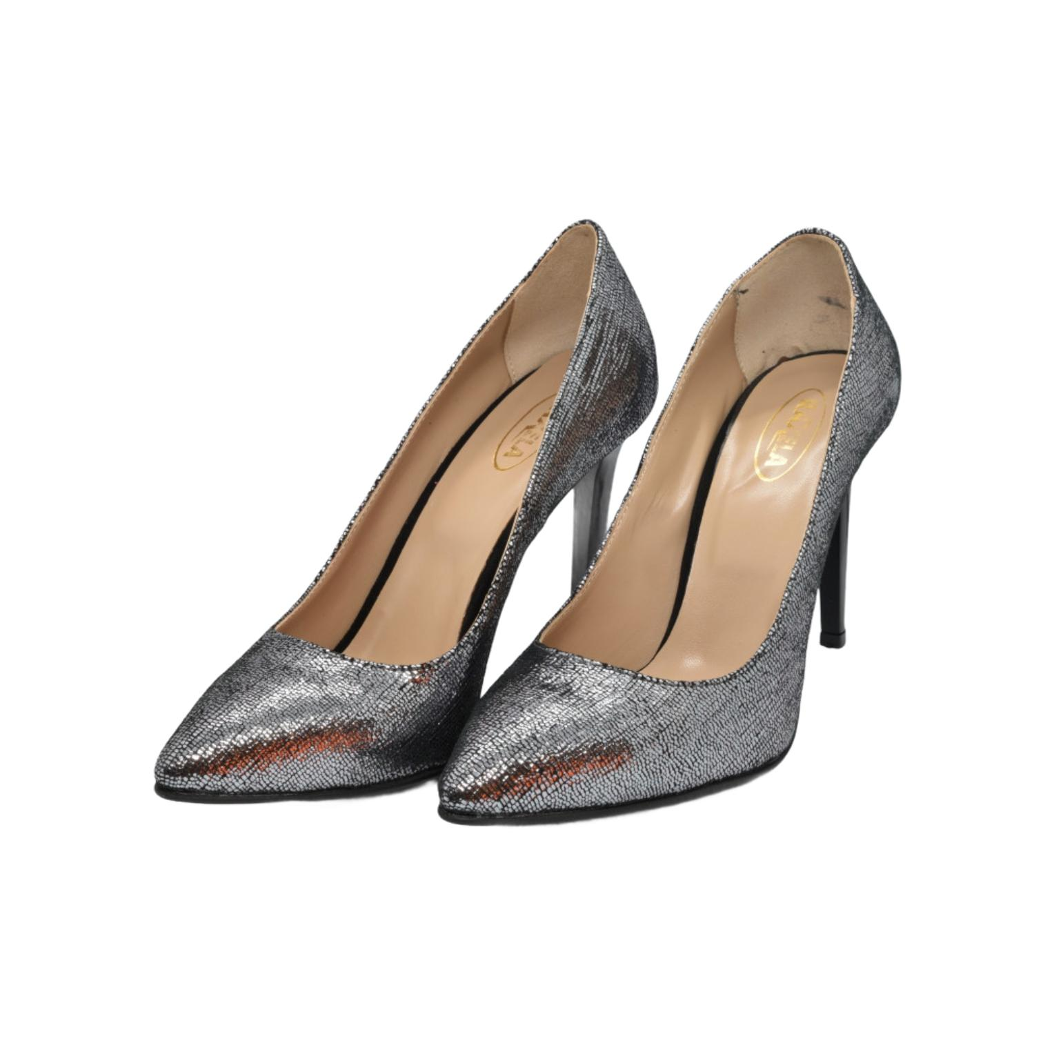 Pantofi stiletto mira argintiu